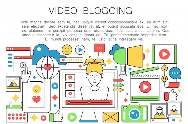 Video-blogger-flache linie konzept Premium Vektoren