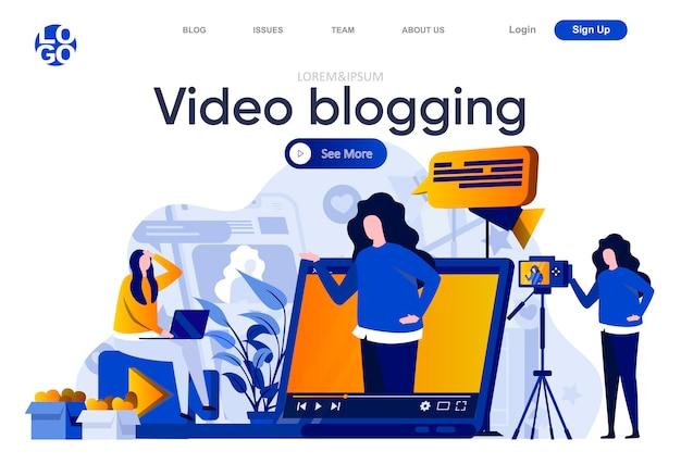 Video blogging flache landing page. professioneller blogger, der video-, vlogging- und streaming-illustrationen erstellt. produktion von videoinhalten für die komposition von social media-webseiten mit personencharakteren Premium Vektoren