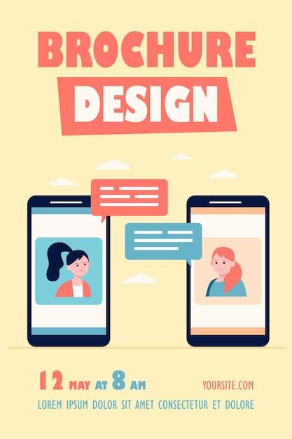 Video-chat auf telefon-flyer-vorlage Kostenlosen Vektoren