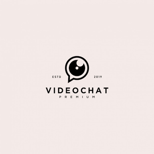 Video chat logo vorlage Premium Vektoren