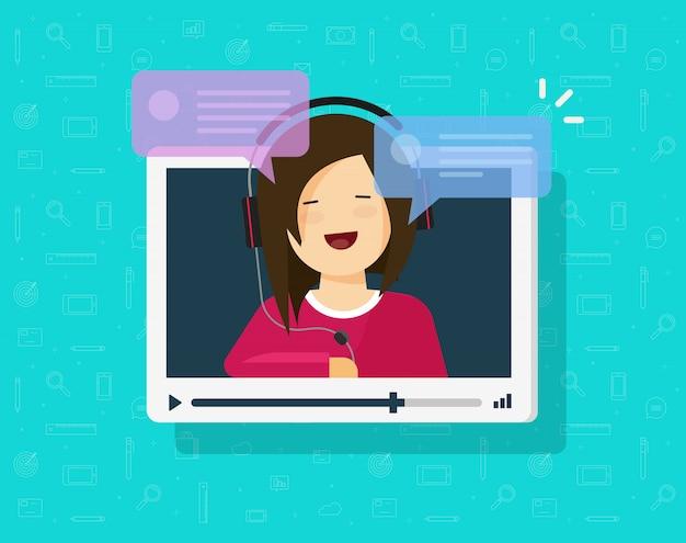 Video, das online mit mädchenperson plaudert Premium Vektoren