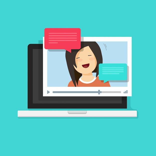 Video, das online oder internet-anruf auf laptop-computer illustration in der flachen karikaturart plaudert Premium Vektoren