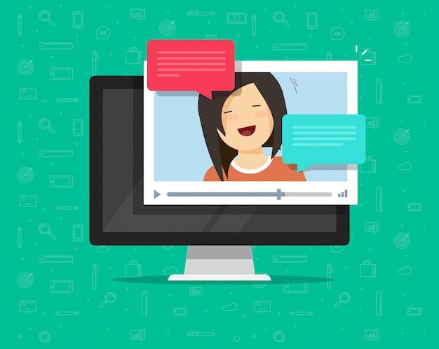 Video, das online plaudert oder um flache karikatur der computervektor-illustration ersucht Premium Vektoren