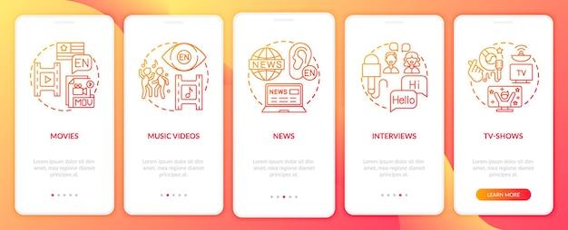 Video für das sprachenlernen onboarding mobile app seite bildschirme eingestellt Premium Vektoren