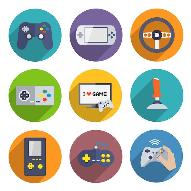 Video games controller elemente festgelegt Premium Vektoren