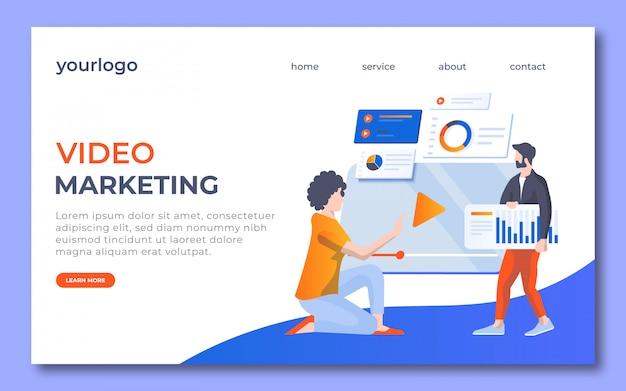 Video-marketing-landingpage-design. auf dieser landingpage hat die frau einen videobutton und der mann bringt marktstrategie. Premium Vektoren