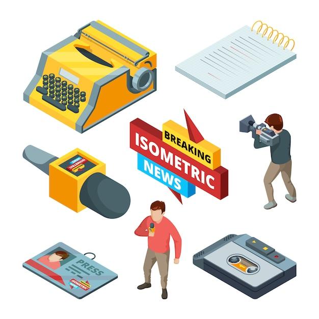 Video-nachrichten und journalistische. isometrische bilder satz von blogging und nachrichten Premium Vektoren