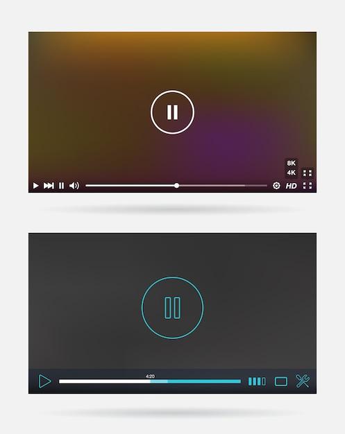 Video player-fenster mit menü- und schaltflächenbedienfeld Premium Vektoren