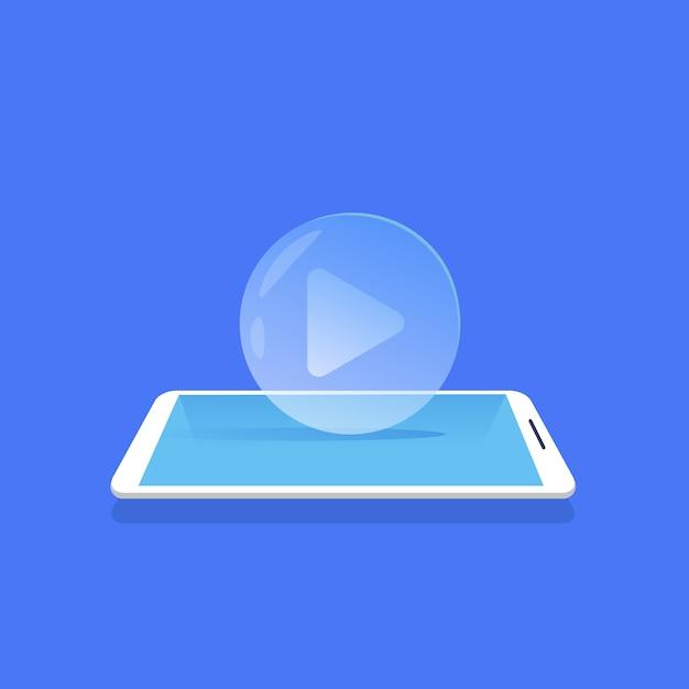 Video player icon media streaming mobile anwendung blauen hintergrund flach Premium Vektoren