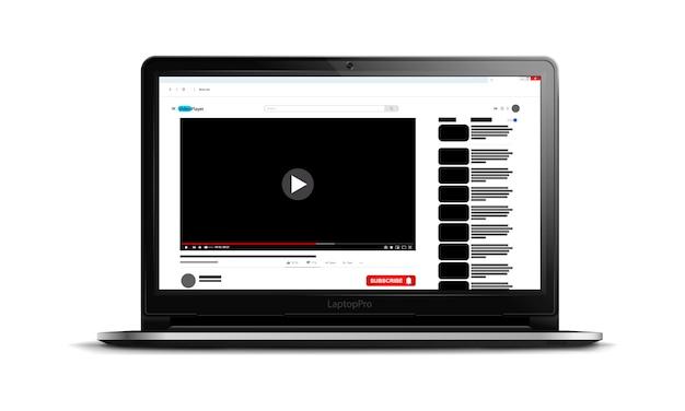 Video-player-oberfläche auf einem modernen laptop-bildschirm, video-player-vorlage für ihre website, social-media-inhalte, realistische illustration Premium Vektoren
