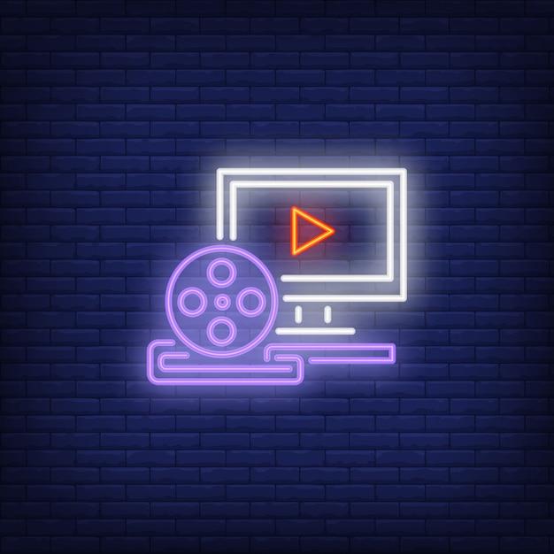 Video-produktion leuchtreklame Kostenlosen Vektoren