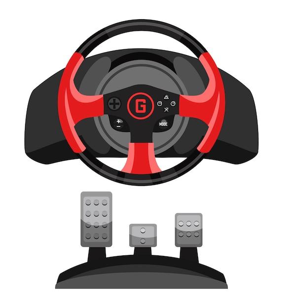 Video-rennlenkrad-spielsteuerung mit pedalsatz für spielesimulation lokalisiert auf weiß Premium Vektoren