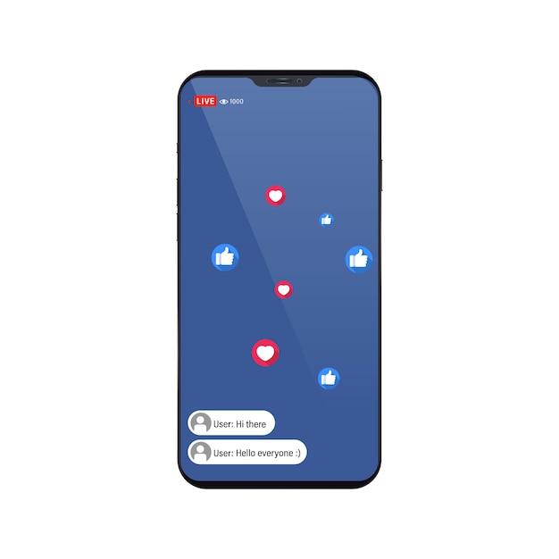 Video-streaming-app auf einem smartphone, chat und ähnliche symbole. Premium Vektoren