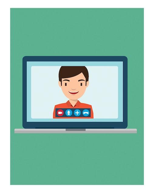 Videoanruf mit onkel mit laptop Premium Vektoren