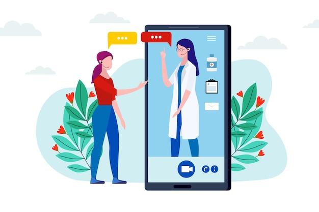 Videoanruf mit therapeut Premium Vektoren