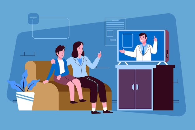 Videoanruf mit therapeut Kostenlosen Vektoren