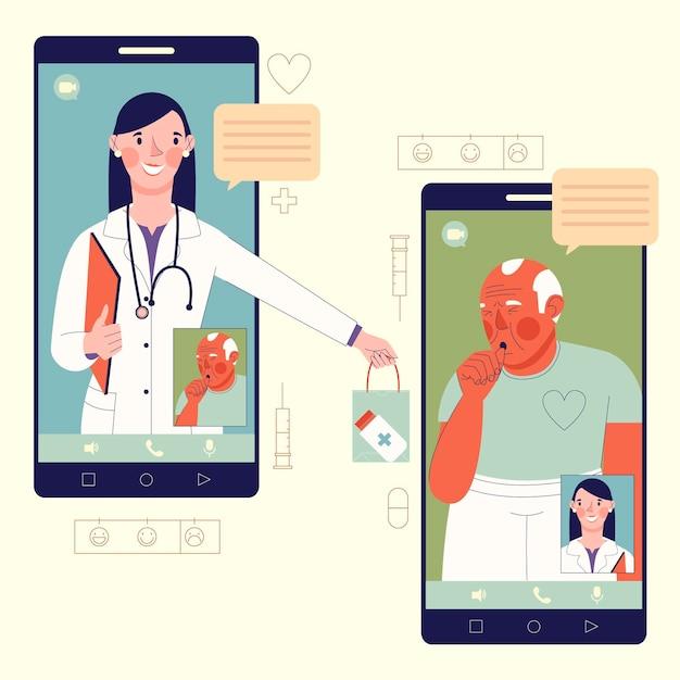 Videoanruf mit therapeutenkonzept Kostenlosen Vektoren