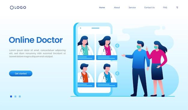 Videoanruf online-arzt mit smartphone-illustration Premium Vektoren