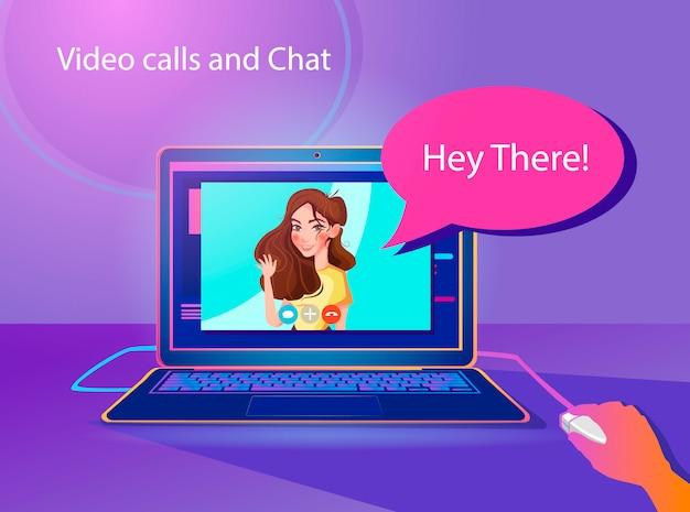 Videoanrufe und chatkonzeptillustration. Premium Vektoren