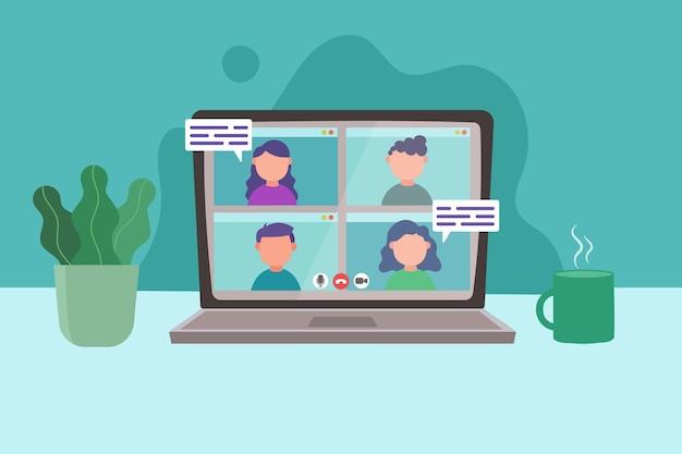 Videoanrufkonferenzen online auf dem laptop Premium Vektoren