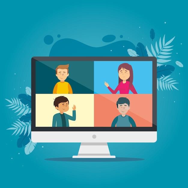 Videoanrufkonzept mit computer Premium Vektoren