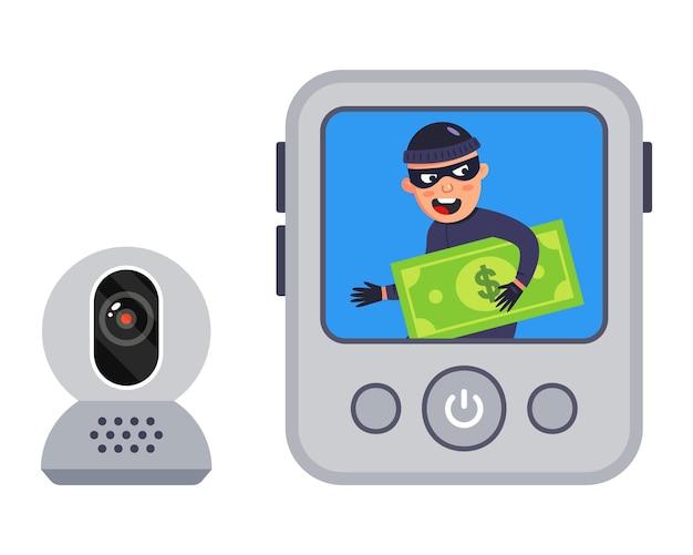 Videoaufzeichnung des verbrechens. der räuber wurde gefilmt. illustration. Premium Vektoren