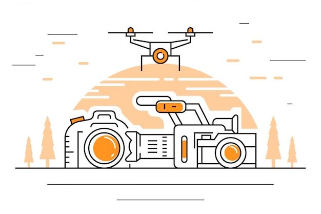 Videografie-illustration Premium Vektoren