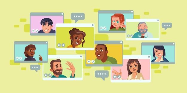 Videokonferenzbildschirm mit einer gruppe von personen Kostenlosen Vektoren