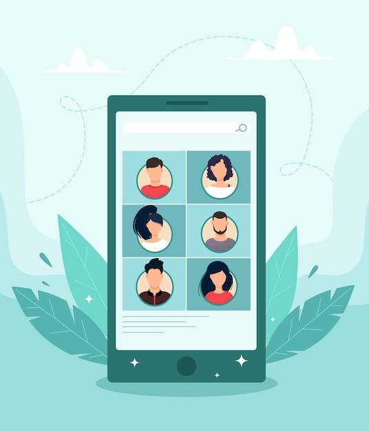 Videokonferenzkonzept über mobile anwendung. illustration im flachen stil. Premium Vektoren