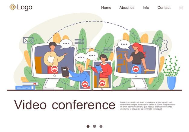 Videokonferenzlandung. online-geschäftskonferenz. online-webinar. die leute hören dem dozenten zu Premium Vektoren