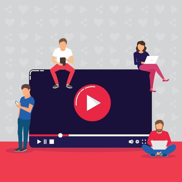 Videokonzeptillustration von den jungen leuten, die bewegliche geräte, tabletten-pc und smartphone verwenden, damit live ein video über internet aufpasst. Premium Vektoren