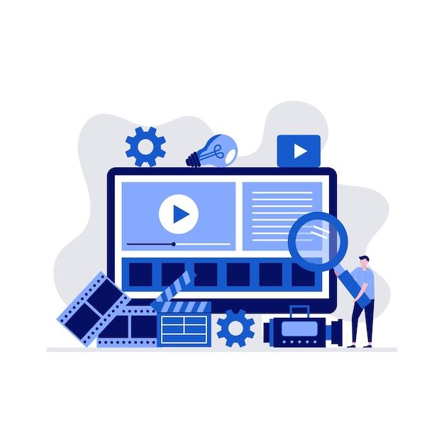 Videoproduktionskonzept mit charakter und großem computerbildschirm. Premium Vektoren