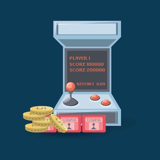 Videospiel-arcade-maschine mit münzen und coupon Premium Vektoren