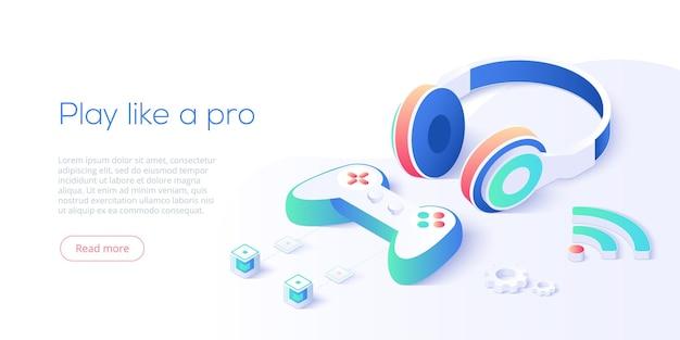 Videospiel-controller und kopfhörer sind isometrisch eingestellt. Premium Vektoren