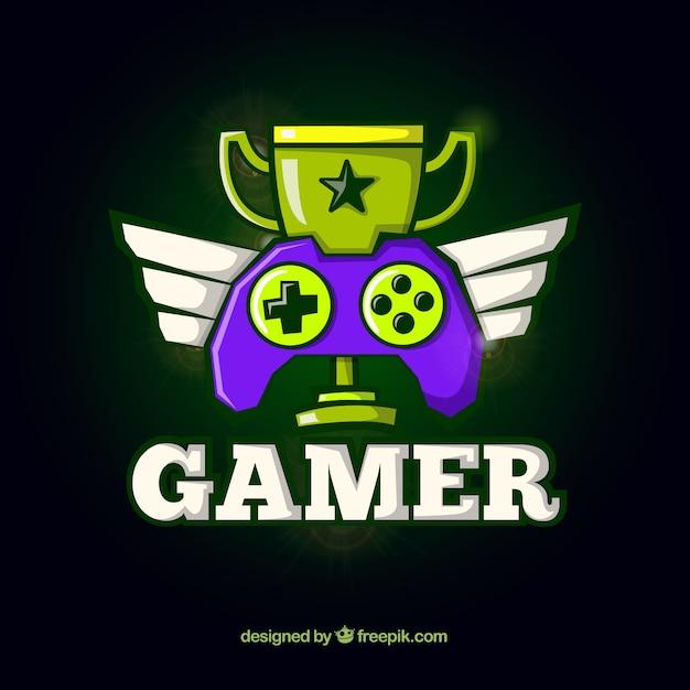 Videospiel-Logo-Vorlage mit Joystick Kostenlose Vektoren