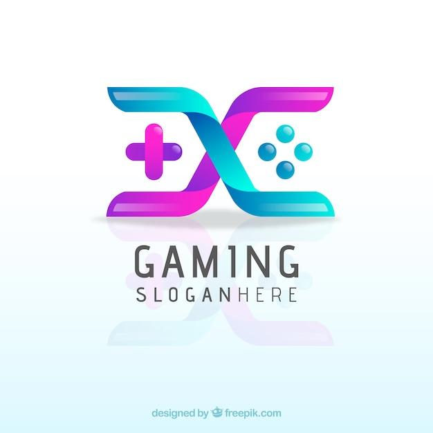 Videospiel-logo-vorlage mit joystick Kostenlosen Vektoren