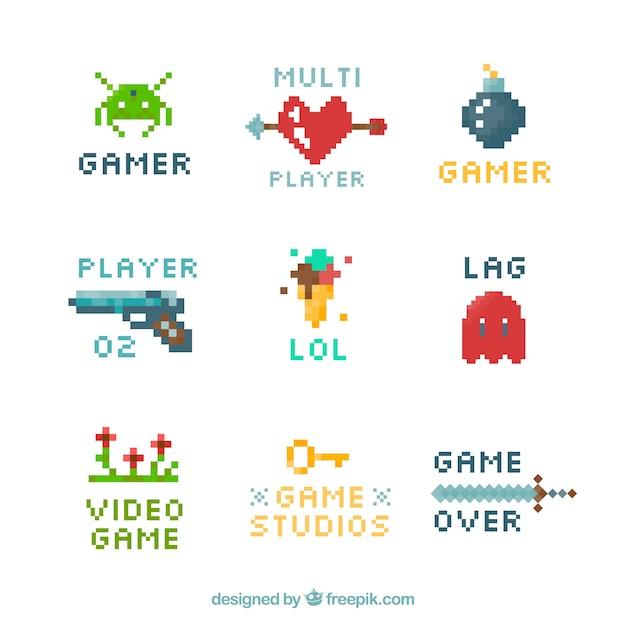 Videospiel-logosammlung mit flachem design Kostenlosen Vektoren