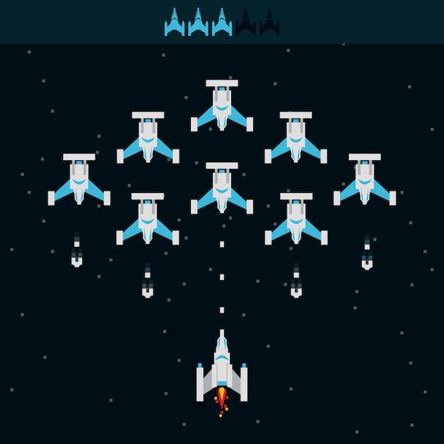 Videospiel raumschiff alien Premium Vektoren