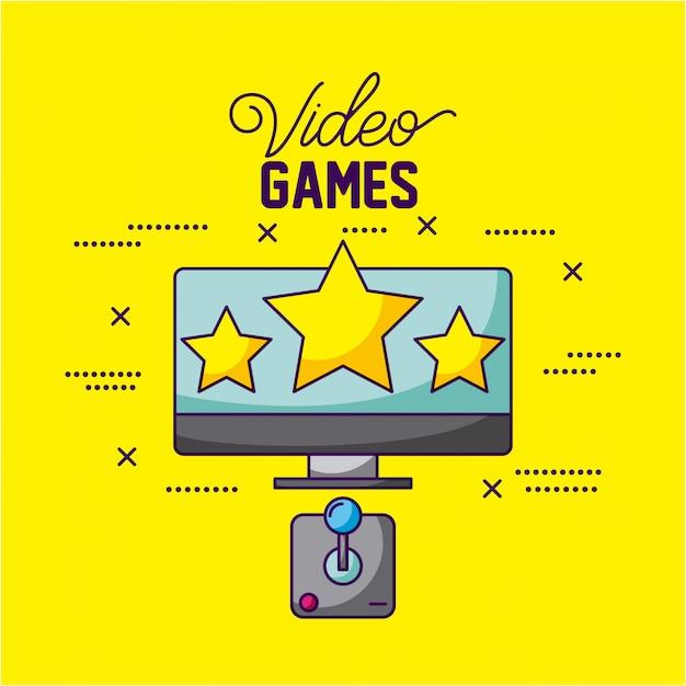 Videospiele entwerfen einen fernseher mit drei sternen und einer kontrollillustration Kostenlosen Vektoren