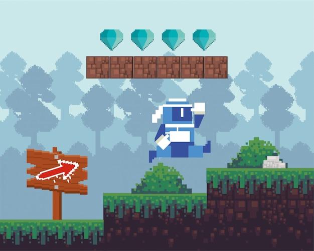 Videospielkrieger, der in pixelated szene springt Premium Vektoren