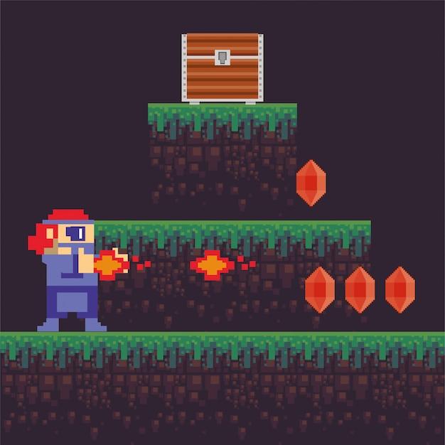 Videospielkrieger-schießenwaffe in pixelated szene Premium Vektoren