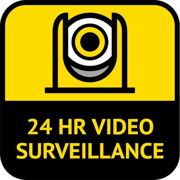 Videoüberwachung, cctv-etikett quadratische form Premium Vektoren