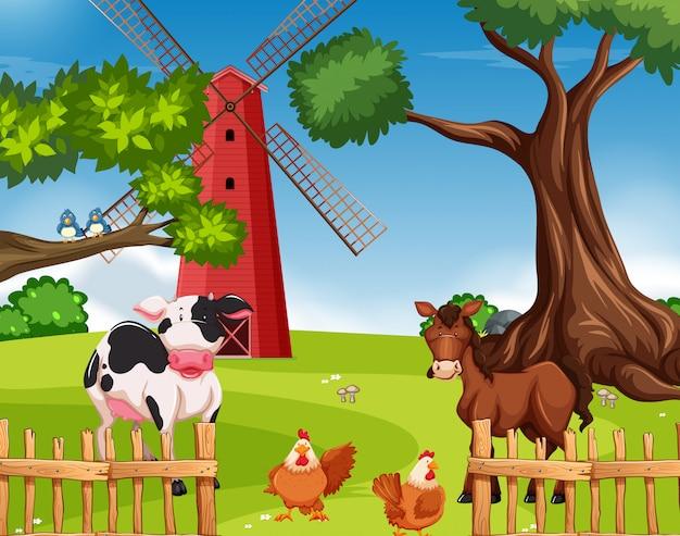 Vieh in ackerland Kostenlosen Vektoren