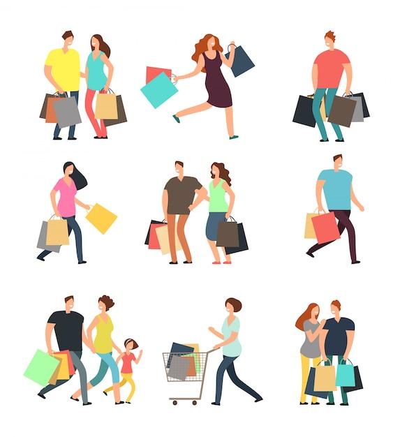 Viel spaß beim einkaufen leute. mann, frau und käufer mit geschenkboxen und einkaufstüten. vektorzeichentrickfilm-figuren eingestellt Premium Vektoren