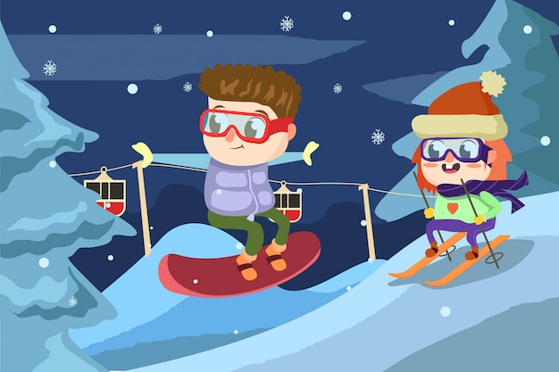 Viel spaß beim skifahren Premium Vektoren