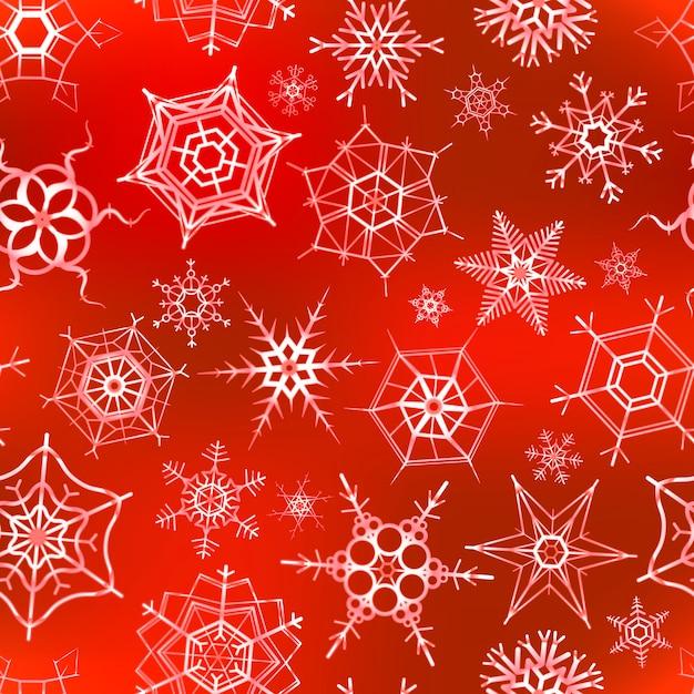 Viele eisigen schneeflocken auf rot, weihnachtsnahtloses muster Premium Vektoren