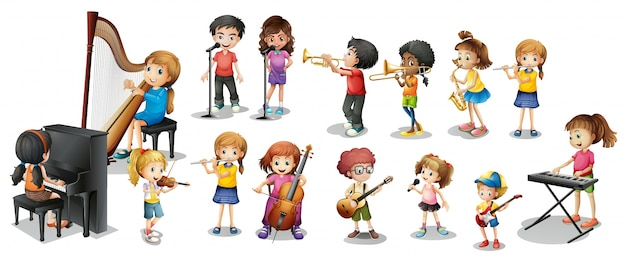 Viele kinder verschiedene musikinstrumente spielen Kostenlosen Vektoren