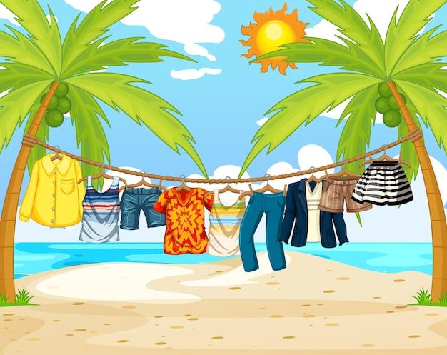 Viele kleider hängen an einer linie in der strandszene Kostenlosen Vektoren