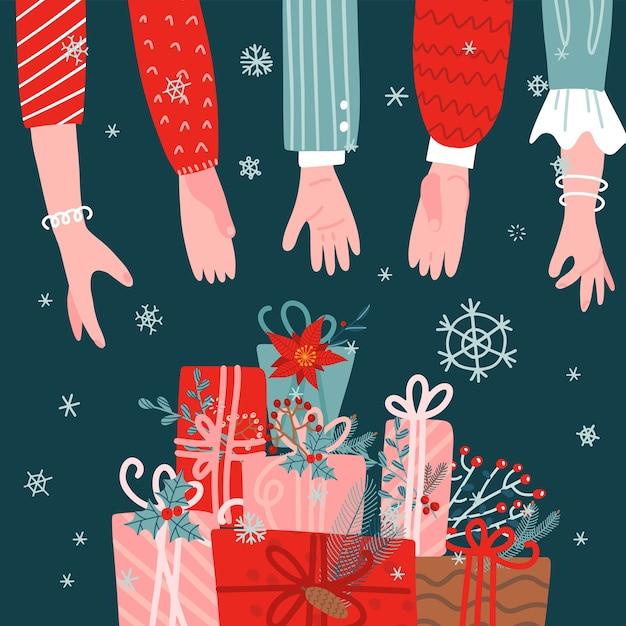 Viele menschen greifen nach dem stapel geschenkboxen auf grünem hintergrund. weihnachtsgeschenke grußkarte. Premium Vektoren