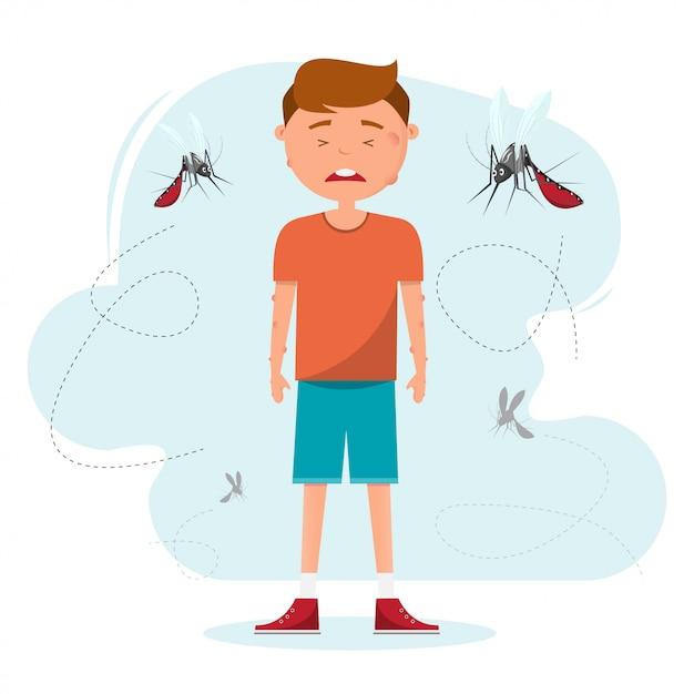 Viele mückenstiche beißen einen jungen Premium Vektoren
